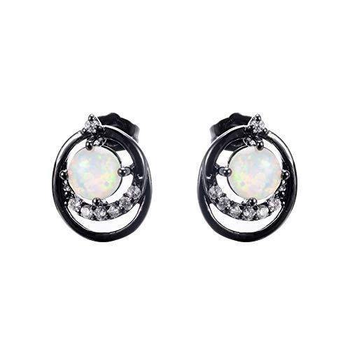 B&H-ERX Einfacher Runde Solitaire Erstellt Opal-Tropfen-Ohrringe für Frauen 925 Sterlingsilber Oktober Birthstone mehr Farben,C
