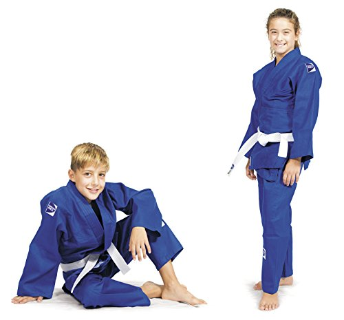 GREEN HILL JUDOANZUG JUNIOR 350 G/M2 WEISS BLAU JUDO KINDER JIU JITSU UNIFORM UNISEX (Blau, 130) (Die Junior-uniform)