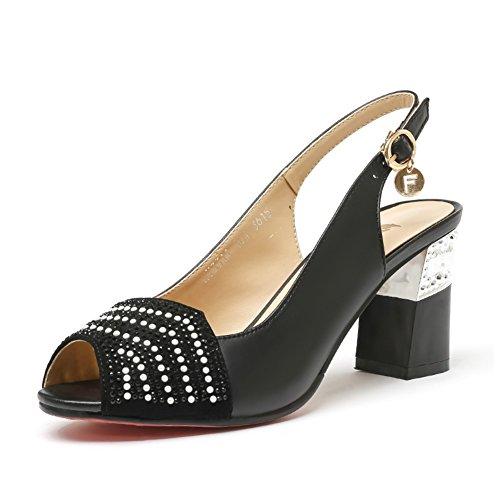 Lado De Couro Do Verão Com Sapatos Femininos / Diamante Sensuais Aberto Toe De Peixe Sandálias Boca Áspero B