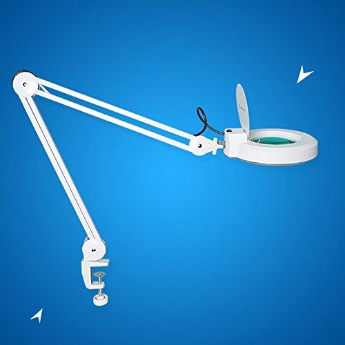 Concise Home Lámpara de mesa con lupa para manicura aumento de 5 dioptrías