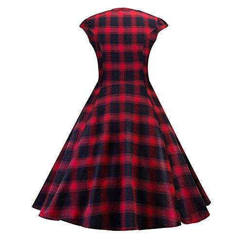 iBaste 2018 Summer Dress da donna senza maniche casual Tank Dress Dance Wedding a quadretti Rot