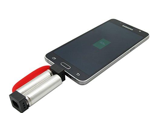 KSS mini Ladegerät für Android Handys/ micro USB Modelle – das kleinste Ladegerät für ihr Smartphone - Notfallladegerät (rot)