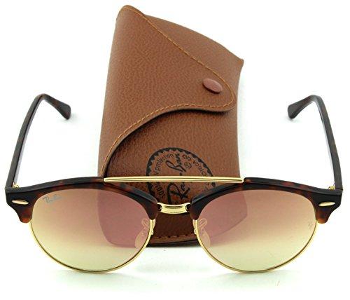 Ray-Ban RB4346 CLUBROUND DOUBLE BRIDGE Unisex Sunglasses (Tortoise Frame/Copper Mirror Gradient Lens 990/70, 51)
