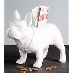BullDog Hucha, hecho de cerámica blanco