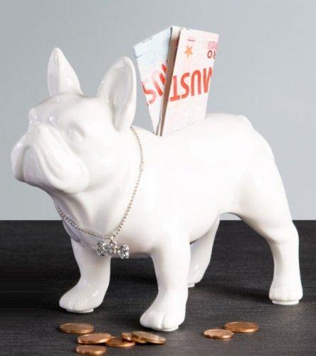 Salvadanaio Bulli di Bulldog in piedi in ceramica bianca cane Arte Art Statua