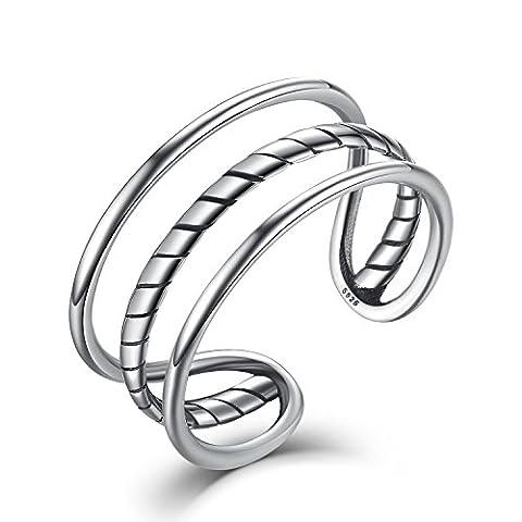 Damen Herren Verstellbare Ringe 925 Silber,Einfache Drei Schicht Eröffnung Knuckel Ringe Schmuck mit Geschenk Box