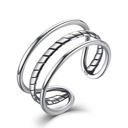3-schicht-hochzeits-ring (Damen Herren Verstellbare Ringe 925 Silber,Einfache Drei Schicht Eröffnung Knuckel Ringe Schmuck mit Geschenk Box)