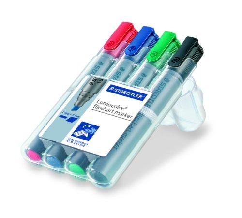Staedtler 356 B WP4 Flipchart-Marker Lumocolor , nachfüllbar, Staedtler Box mit 4 Farben -