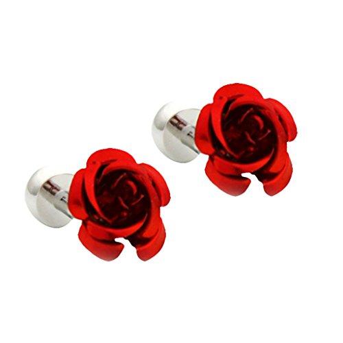 MagiDeal Herren Geschenk Set mit 1 Paar Manschettenknöpfe Blumen Stil Krawatten Klammer - Rot
