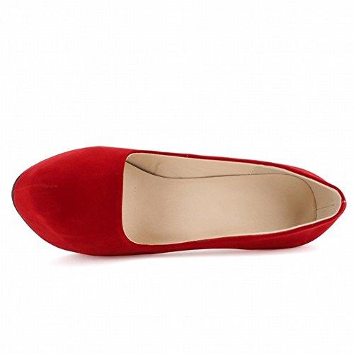 HooH Femmes Stiletto Plateforme Talon haut Robe Escarpins Mariage Chaussures a enfiler Rouge