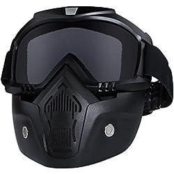 Tongshop Bullet Fight Motocross Masque amovible anti-brouillard de casque de moto chaud avec filtre de bouche réglable et sangle antidérapante vintage Harley, noir