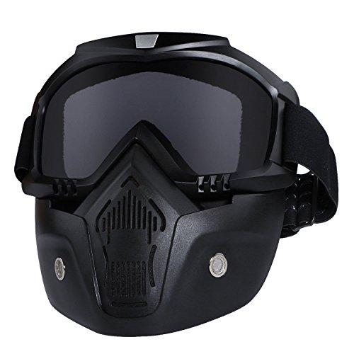 Casco da moto con occhiali, maschera rimovibile, staccabile, caldo antinebbia occhialini, filtro bocca regolabile, cinghia antiscivolo vintage, Harley Bullet Fight motocross, Black