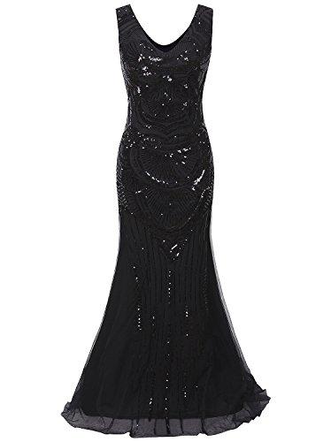 Vijiv mujer 1920 maxi largo del baile de fin de Vestidos de lentejuelas sirena dama de honor vestido de noche formal xl/uk16-18/eu44-46 negro