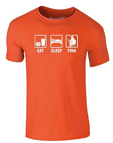 Brand88 - Eat Sleep Fish, Erwachsene Gedrucktes T-Shirt Orange/Weiß