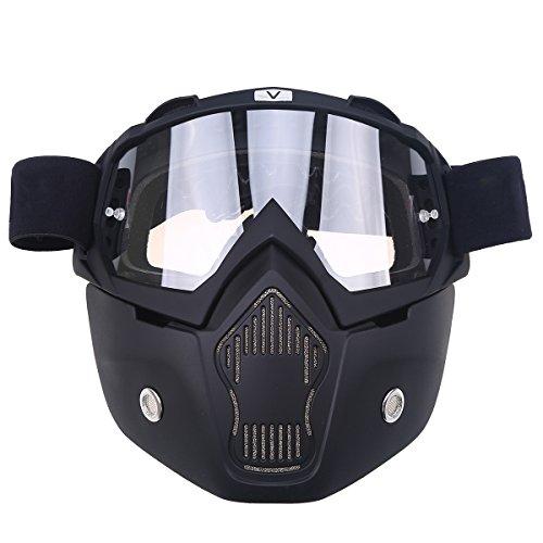 Anti-Fog Brille POSSBAY Motorrad Schutzbrille + abnehmbar Gesichtsmaske Staubdicht Winddicht für Outdoor Fahrrad Dirtbike Motocross Off-Road Goggle Geschenk