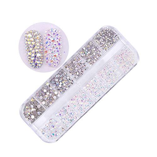 NICOLE DIARY Plat bas ongles strass cristal perles rondes paillettes ongles pierre gemmes mixtes goujons flatback charmes manucure bricolage design 3D Nail Art décoration (couleur: 2)