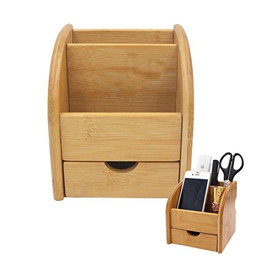 Edobil Boîte de rangement en bambou avec 2compartiments et 1tiroir, pour télécommandes, fournitures de bureau, stylos, crayons, trombones, articles de papeterie EDOBIL