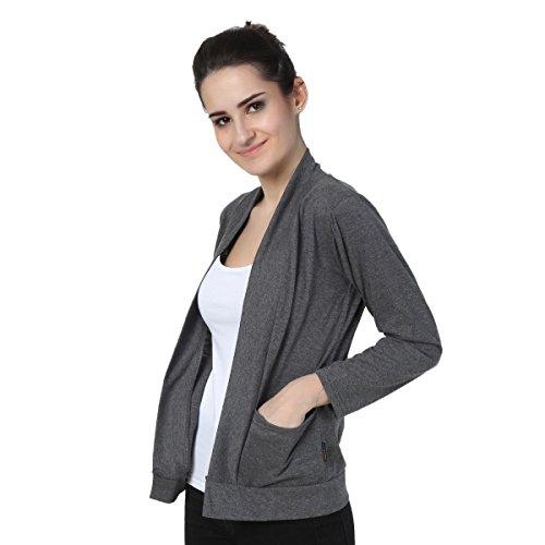 TeeMoods Women's Cotton Full Sleeves Dark Grey Shrug with Pocket, Stylsih Ladies Shrug (XLarge)