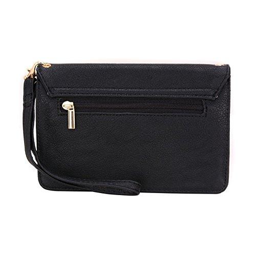 Conze da donna portafoglio tutto borsa con spallacci per ALCATEL POP 4/4S/4+ Grigio Grey Black