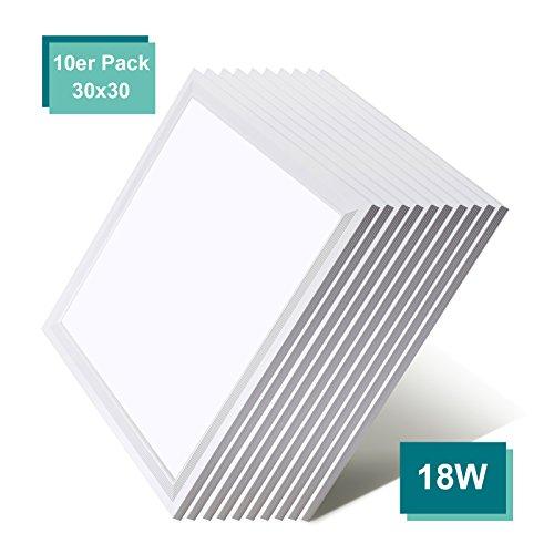 [10er Pack zum Sparpreis] OUBO LED Panel Deckenleuchte 30x30cm Wandleuchte Neutralweiß 4000K, 18W, 1500 lumen, Lampe dünn Ultraslim Pendelleuchte Einbauleuchte