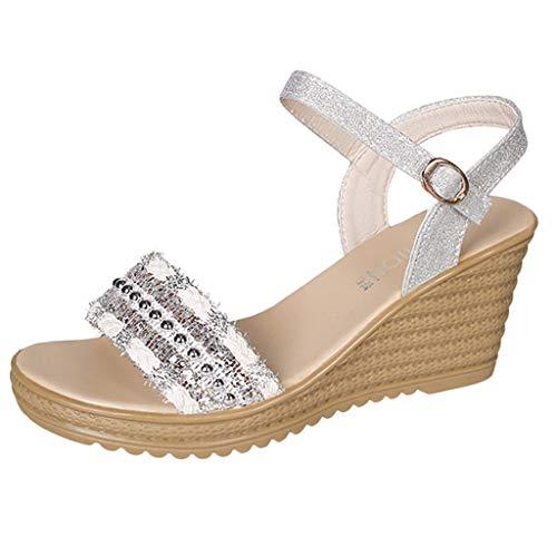 Riemchen-krawatten (Damen Krawatte Geschnürt Gladiator Sandalen flach Riemchen Sommer metallisch Schuh Größe)