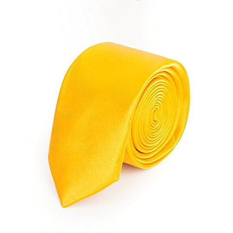 Mens Skinny Italian Style Plain Necktie Tie - Golden rule