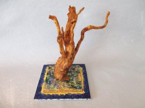Treibholz Wurzel Skulptur, Baum, mit getöpfertem Keramik Skulpturhalter, Schwemmholz Deko, Holzfigur, Keramikfigur, Tischdeko, Wohndeko, Fensterbank, Badezimmer, ca. 18 x 13 cm, Designer Unikat