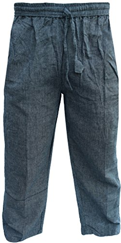 LITTLE KATHMANDU Men's Cotton Hemp Casual Cargo Lounge Trousers