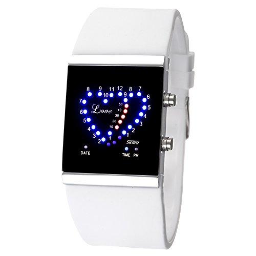 FENKOO Damen Herz-Muster-LED Digital-Silikon-Band-Armbanduhr (Verschiedene Farben)