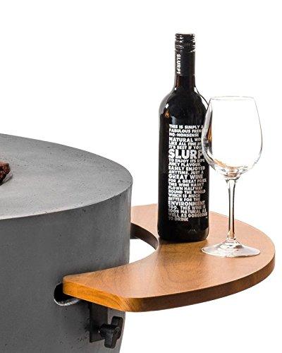 Mania Cocoon sidetable pour cheminée à gaz Table ronde Feuerzangenbowle Grande, bois de teck semi-circulaire 74 cm Lot de 2