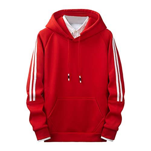 SuperSU-Sweatshirt Herren Herbst Einfach Warm Kapuzenpullover Einfarbig Übergröße Hoodies mit Taschen Männer Locker Casual Kapuzen-Sweatshirt Street Style Mode Oberteil M-3XL