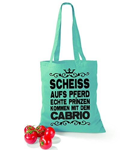 Artdiktat Baumwolltasche Scheiß auf´s Pferd - Echte Prinzen kommen mit dem Cabrio sunflower mint
