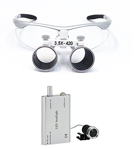 3.5X 420mm Dental Lupenbrille Surgical Medical Binocular Loupes mit Led Stirnlampe +Gepackt in Aluminum Box Silber Wide Field Lupe