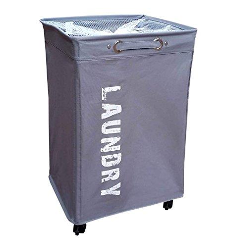 hausratplus Wäschesortierer auf Rollen Wäschebox Wäschekorb groß grau