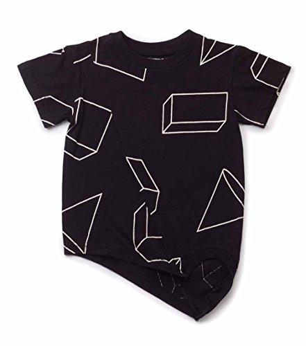 nununu T-Shirt Asymetrisch Schwarz Gr. 6-7 Y (116-122)