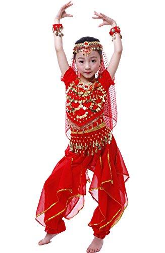 Mädchen Halloween Bauchtanz Kostüm Anzug Rot ()