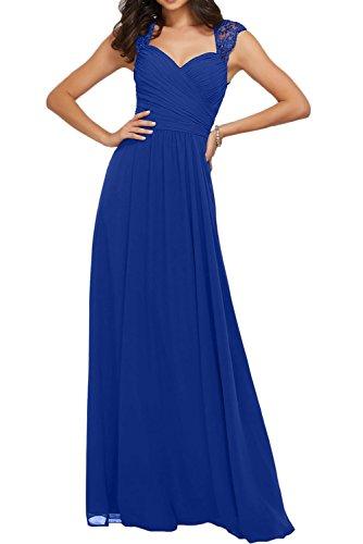 Promgirl House Damen Fashion Brautmutterkleider Chiffin Tüll Lang Träger Partykleider Abendkleider Cocktail Ballkleider Lang Royalblau
