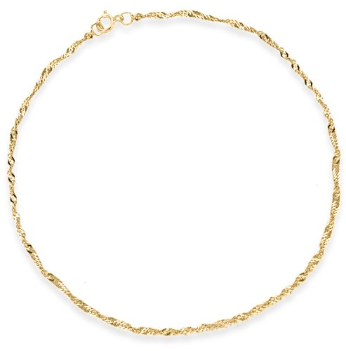 """Carissima Gold 9ct Yellow Gold Twist Curb Anklet of 25cm/10"""""""