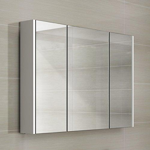 IBathUK - Armario almacenamiento espejo baño, 3 puertas