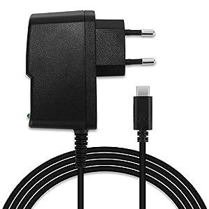 subtel® Qualitäts Ladekabel – 1,2m (2A / 2000mA) kompatibel mit Nintendo Switch/Nintendo Switch Pro Controller (5V / USB C) Ladegerät Netzteil Charger schwarz