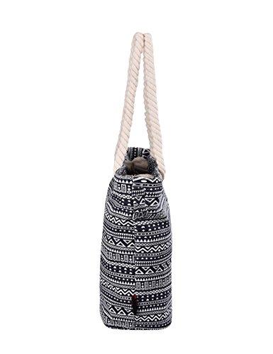 Douguyan tela di canapa variopinto di modo di svago del sacchetto di spalla della spiaggia all'ingrosso signore tote shoulder bag borse donna Ragazze canvas beach shopping women handbag 252F Triangolo