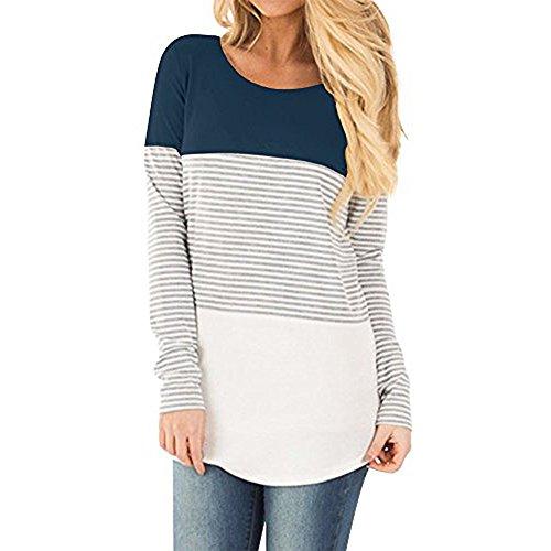 AmazingDays Chemisiers T-Shirts Tops Sweats Blouses,Femme T-Shirt Casual Manches Longues Rayé Patchwork Extensible Tops Chemisier blue