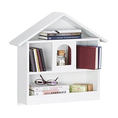 Relaxdays Wandregal Hausform mit 3 Fächer, dekorativer Setzkasten, matt lackiertes Holzhaus, HxBxT: 50x53x15 cm, weiß