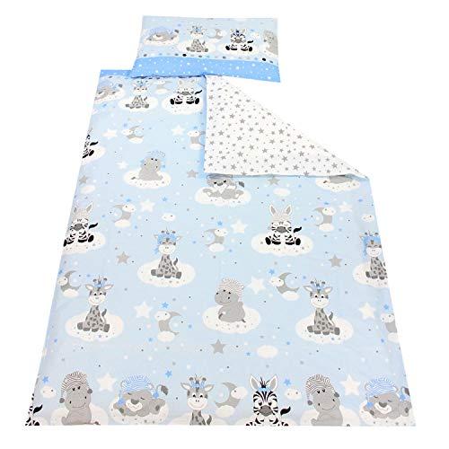 TupTam Kinder Bettwäsche Gemustert 2-Teilig, Farbe: Baby Tiere Grau/Blau, Größe: 135x100 cm