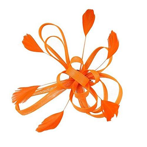 Wedding Bridal Feather Fascinator Hair Clip Brooch Pin Hair Accessory (Orange)