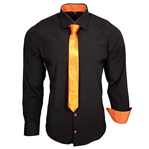 Rusty Neal 44-KR Herren Kontrast Hemd Business Hemden mit Krawatte Hochzeit Freizeit Fit, Größe:3XL, Farbe:Schwarz/Orange