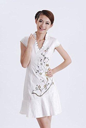 Bigood Robe Femme Coton Fleur Imprimée Sexy Col V Manche Courte Chic Blanc