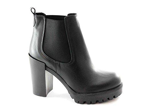 PREGUNTA 1452P nero scarpe donna tronchetto tacco elastici 40