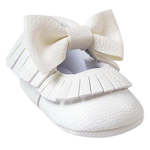Classique Chaussures Premiers Pas Bébé Fille Garçon Souple Baskets Marche en Cuir Nœud papillons Slip-on sans lacets Moccasins Frange Printemps Automne Mariage Baptême 0-18mois Couleur au choix