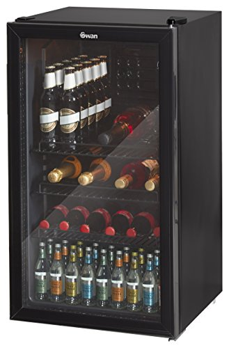 Swan SR12030BN, Glass Fronted Under Counter Fridge - Drinks, Vino Wine Cooler, 85W, 80L